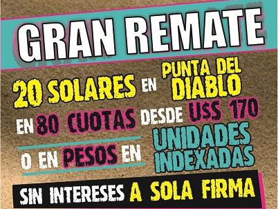 Sábado 17 de octubre: Gran Remate 20 solares ubicados en Punta del Diablo