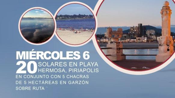 6 de enero: Remate de solares en Piriápolis!