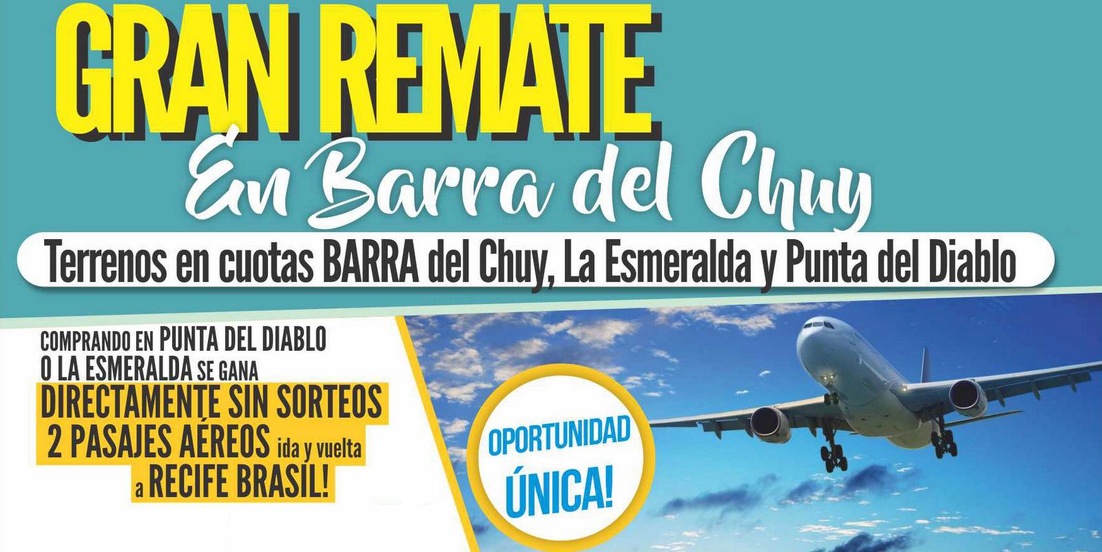 Remate de 40 solares ubicados en Barra del Chuy, Punta del Diablo y La Esmeralda!
