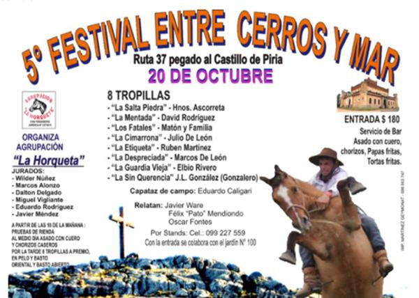 Domingo 20 de octubre, 5º Festival Entre Cerros y Mar